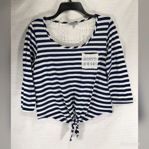 Charlotte Russe Navy & white striped Lace Back Top